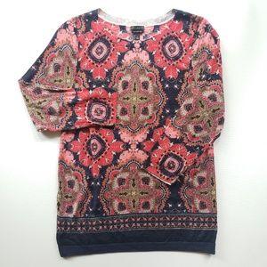 TALBOTS Merino Wool Pink Paisley Sweater Size L